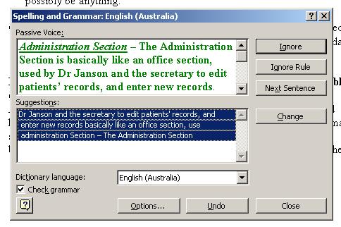 Microsoft Word grammar checker